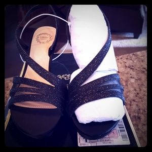 Black glitter sling back heels